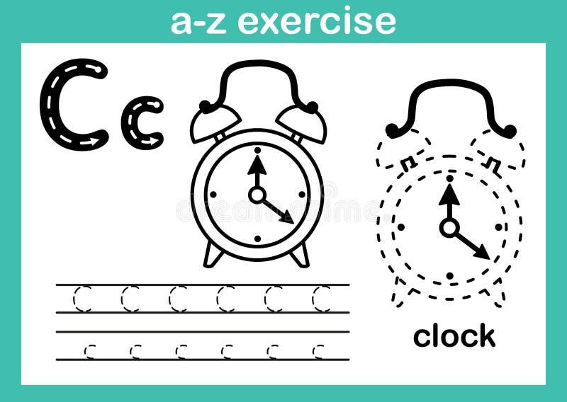Exercice d'a-z d'alphabet avec le vocabulaire de bande dessinée pour livre de coloriage illustration de vecteur