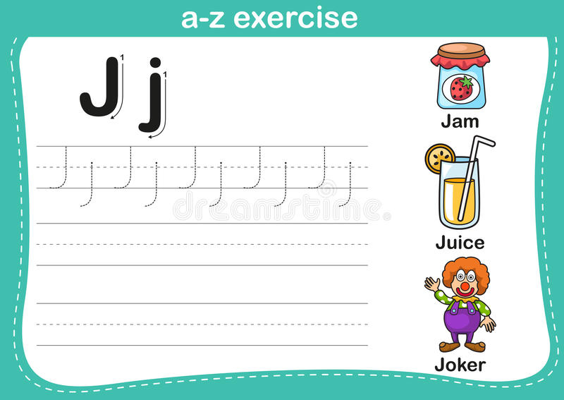 Exercice d'a-z d'alphabet illustration de vecteur