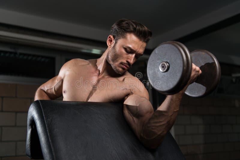 Exercice de biceps avec l'haltère dans un gymnase photo stock