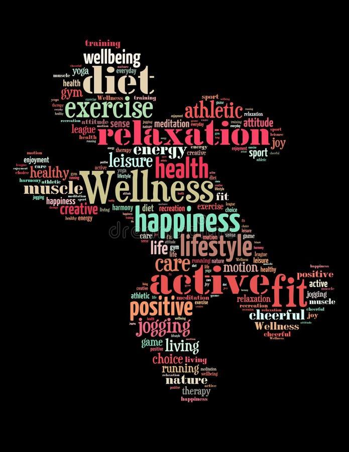 Exercice de bien-être, concept 4 de nuage de mot illustration libre de droits