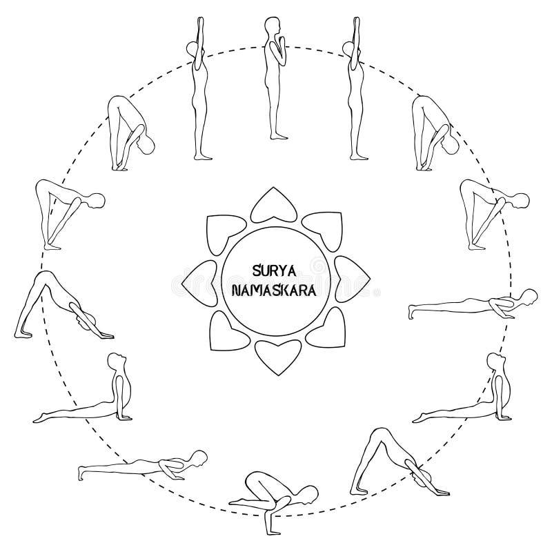 Exercice de cycle dans la salutation du soleil de yoga Contour de silhouette Vecteur illustration de vecteur