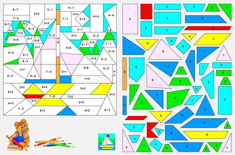 Exercice de logique pour des enfants - devez résoudre des exemples, trouvez les chiffres et peignez l'image dans des couleurs app illustration stock
