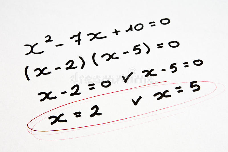 Exercice de maths image stock