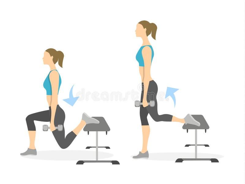 Exercice de mouvement brusque pour des jambes illustration stock