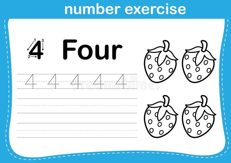 Exercice de nombre avec l'illustration de livre de coloriage de bande dessinée illustration stock