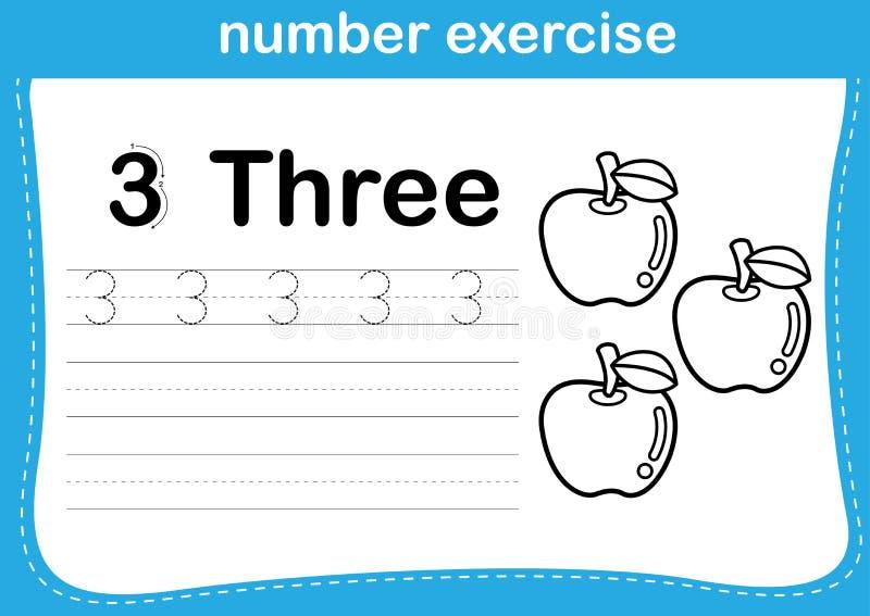Exercice de nombre avec l'illustration de livre de coloriage de bande dessinée illustration de vecteur