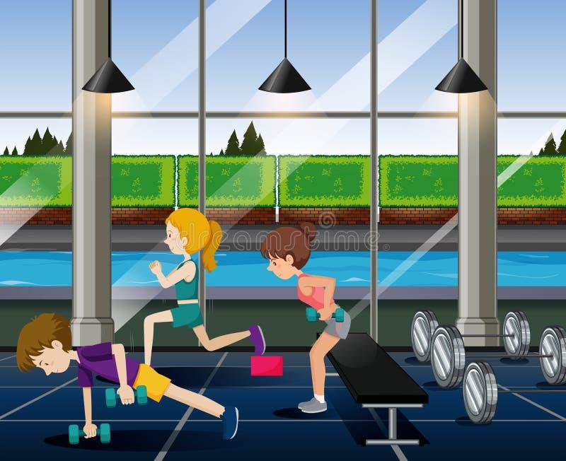 Exercice de personnes dans le gymnase illustration de vecteur