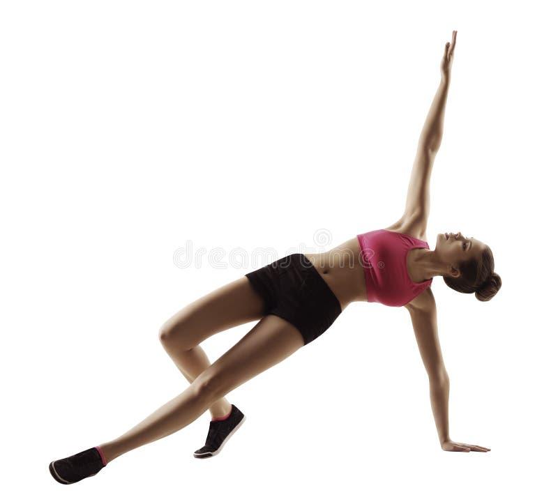 Exercice de planche de forme physique de femme de sport, séance d'entraînement d'aérobic sur le blanc photographie stock