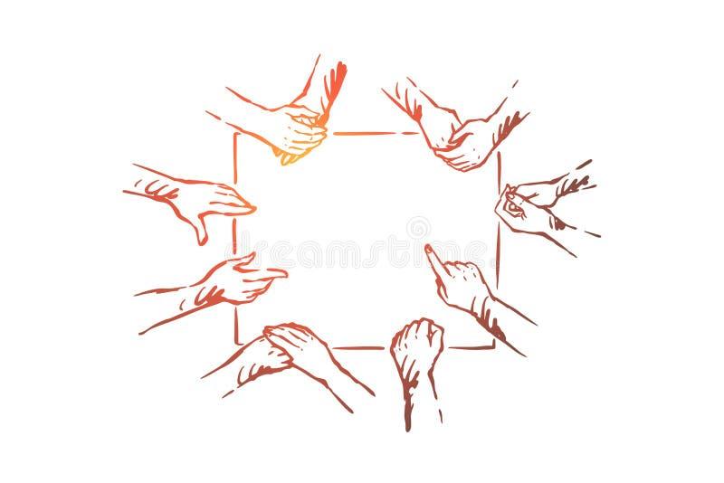Exercice de renforcement d'?quipe, communication sourde-muette de personnes, coop?ration de la communaut?, mains montrant des ges illustration de vecteur