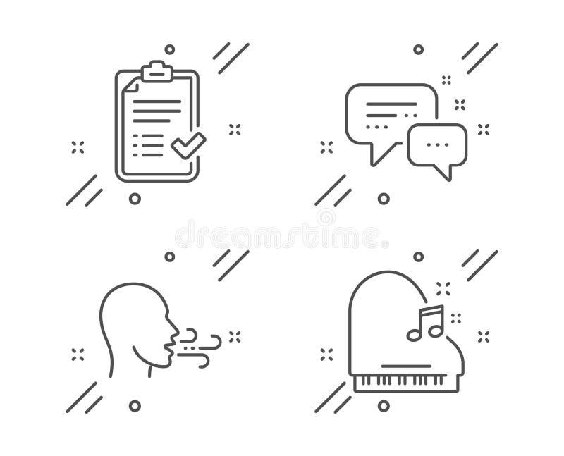 Exercice de respiration, messager des employés et ensemble approuvé d'icônes de liste de contrôle r Vecteur illustration de vecteur
