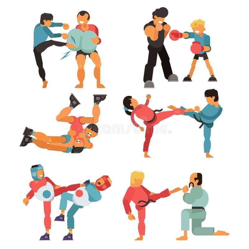 Exercice de sport de karaté de formation de combattant de caractère de personnes de vecteur d'art martial et pratique en matière  illustration stock