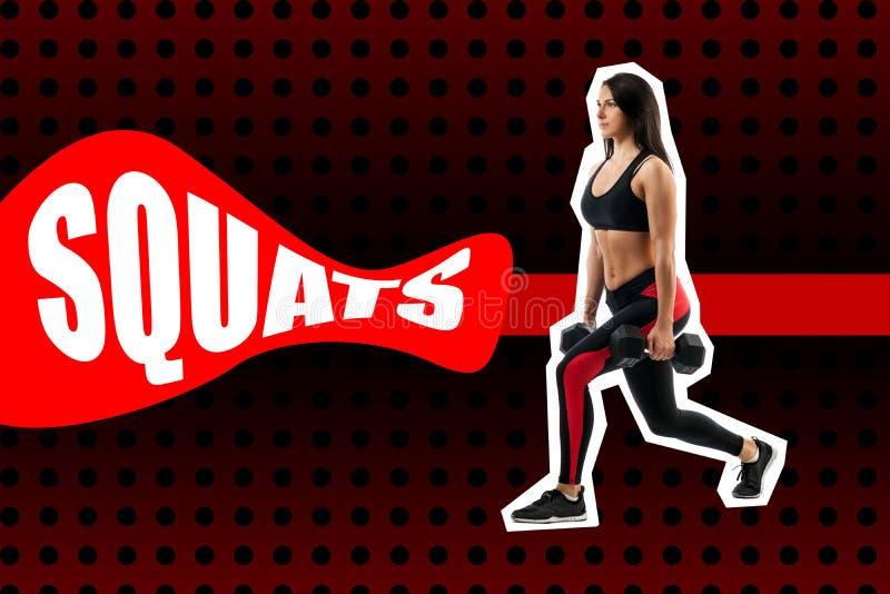 Exercice des postures accroupies avec le poids, exécuté par une femme de sports photographie stock libre de droits