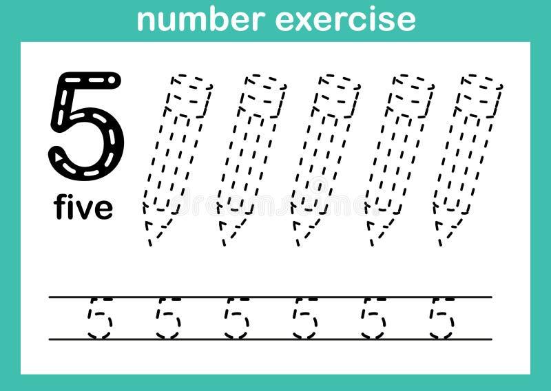 Exercice du numéro cinq illustration stock