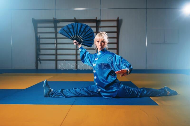 Exercice femelle de maître de wushu avec la fan, art martial photo stock