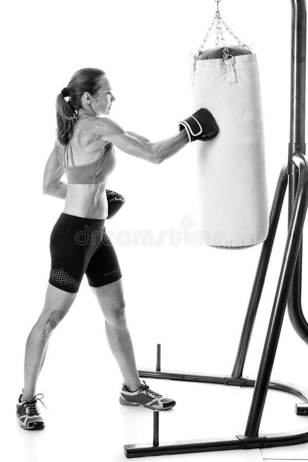 Exercice lourd de sac photo stock