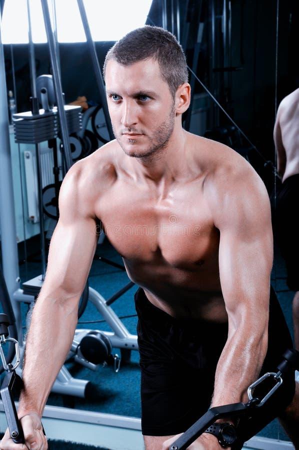 Exercice musculaire d'homme en gymnastique image stock