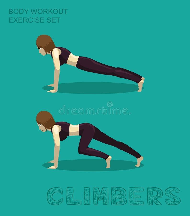 Exercice physique des grimpeurs Set Manga Cartoon Vector illustration de vecteur
