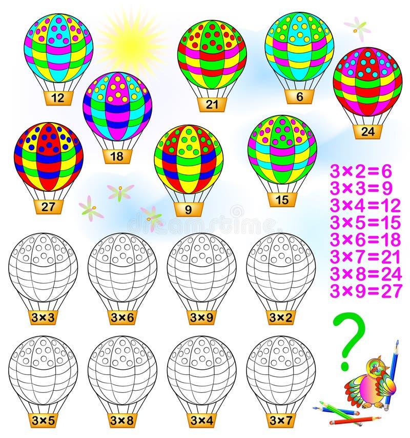 Exercice pour des enfants avec la multiplication par trois illustration stock