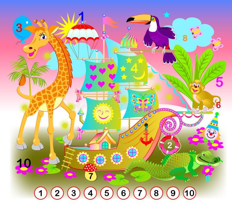 Exercice pour les enfants en bas ?ge Devez trouver les nombres de 1 jusqu'à 10 cachés dans l'image Jeu de puzzle de logique illustration libre de droits