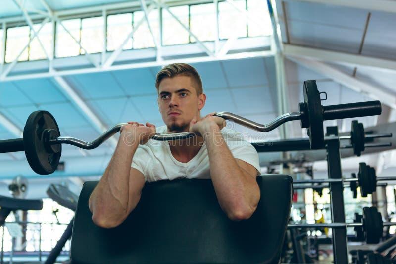 Exercice sportif masculin avec le barbell sur la boucle de prédicateur au centre de fitness image libre de droits