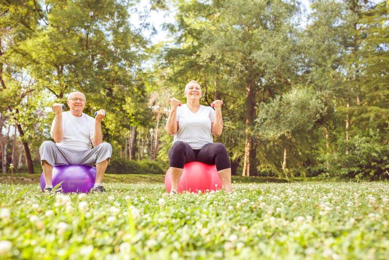 Exercice supérieur - exercice supérieur de couples ensemble sur la boule de forme physique en parc image libre de droits