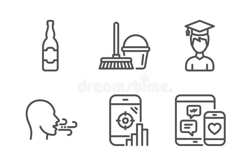 Exercice, téléphone de Seo et seau de respiration avec des icônes de balai réglées Bouteille à bière, étudiant et signes sociaux  illustration de vecteur