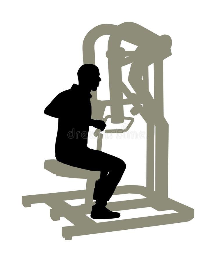 Exercices d'homme de sport dans le gymnase sur la silhouette de machine de forme physique d'isolement sur le fond blanc Équipemen illustration libre de droits