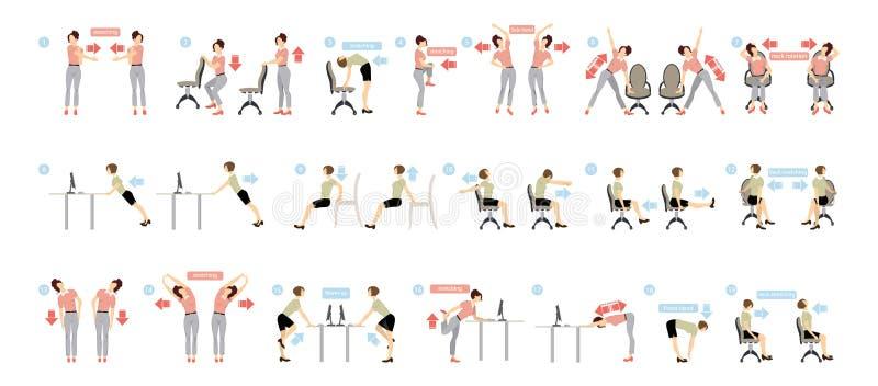 Exercices de sport pour le bureau illustration libre de droits