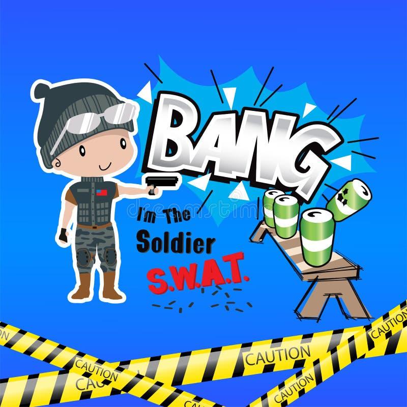 Exercices de tir de coup de bande dessinée de garçon illustration libre de droits