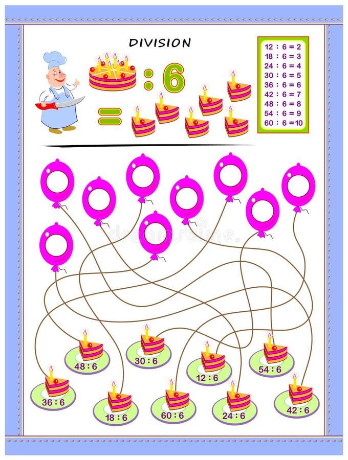 Exercices pour des enfants avec la table de division par le numéro 6 Résolvez les exemples et écrivez les réponses sur des ballon illustration libre de droits