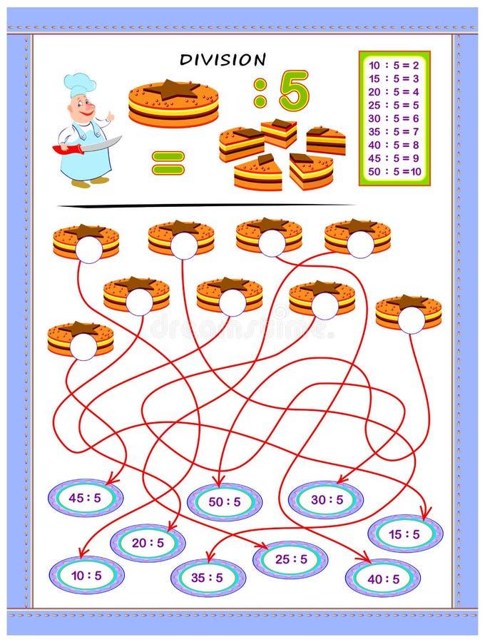 Exercices pour des enfants avec la table de division par le numéro 5 Résolvez les exemples et écrivez les réponses sur des gâteau illustration stock