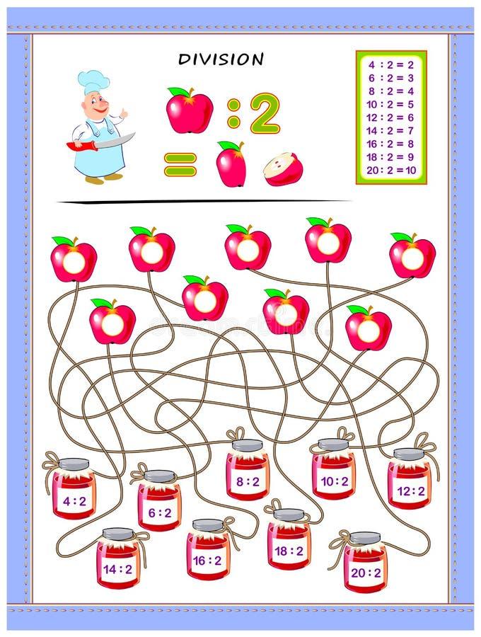 Exercices pour des enfants avec la table de division par le numéro 2 Résolvez les exemples et écrivez les réponses sur des pommes illustration libre de droits
