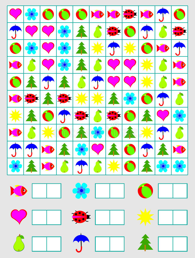 Exercices pour des enfants - les besoins de compter tous les objets et de dessiner les nombres de correspondance dans les places illustration de vecteur