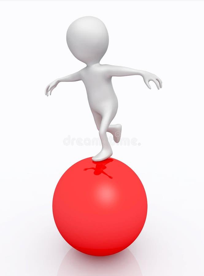 Exercicio de equilibrio com figura 3D em uma esfera vermelha ilustração do vetor