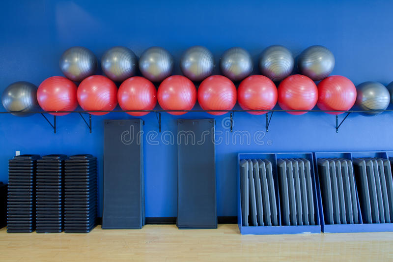 Download Exercise Balls, Stretching Mats And Aerobic Steps Stock Image - Image: 23938159