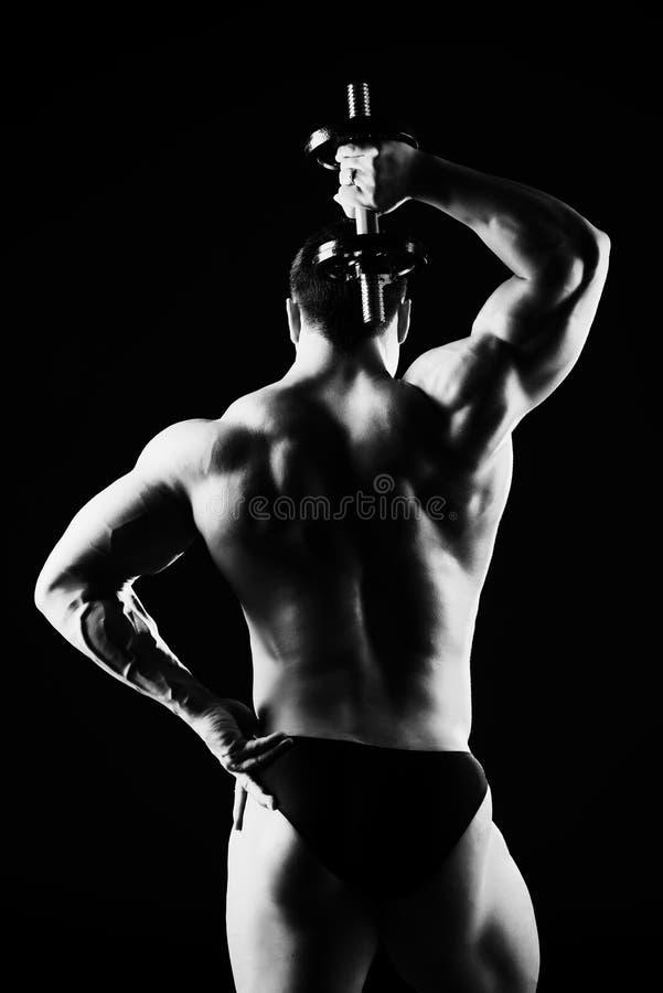 Exercise. Beautiful muscular man bodybuilder posing back over dark background stock photo