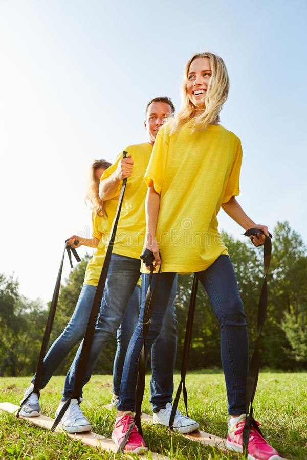 Exercise for better coordination in the team stock photography