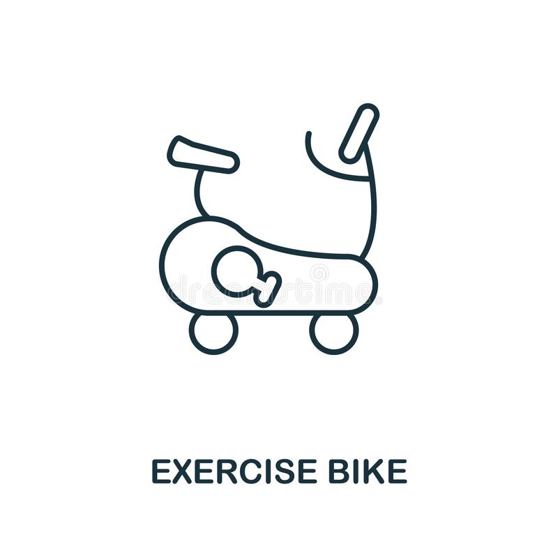 Exercise Bike outline icon. Simple element illustration. Exercise Bike icon in outline style design from sport equipment collectio stock illustration
