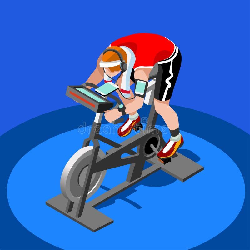 Exercise Bike Spinning Fitness Class.3D Flat Isometric Spinning Fitness Bike. stock illustration