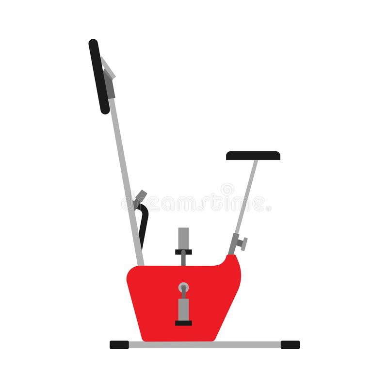 Exercise bike sport fitness activity vector icon. Gym healthy workout body cycle. Flat stationary equipment cardio exercycle stock illustration