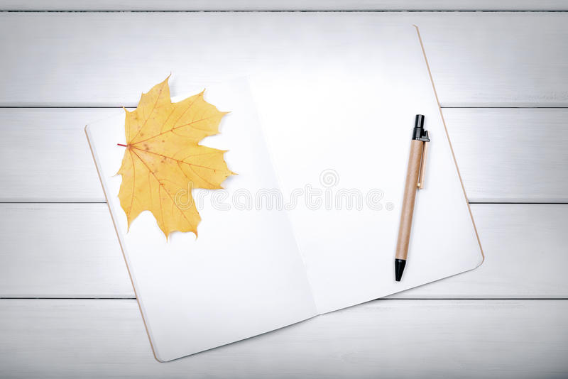 Exercise book with pen and autumn leaves. Exercise book with pen and autumn leaves on white boards royalty free stock photos
