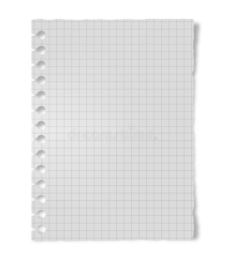 Exercise book sheet. Crumpled white paper sheet isolated on white background royalty free stock photos