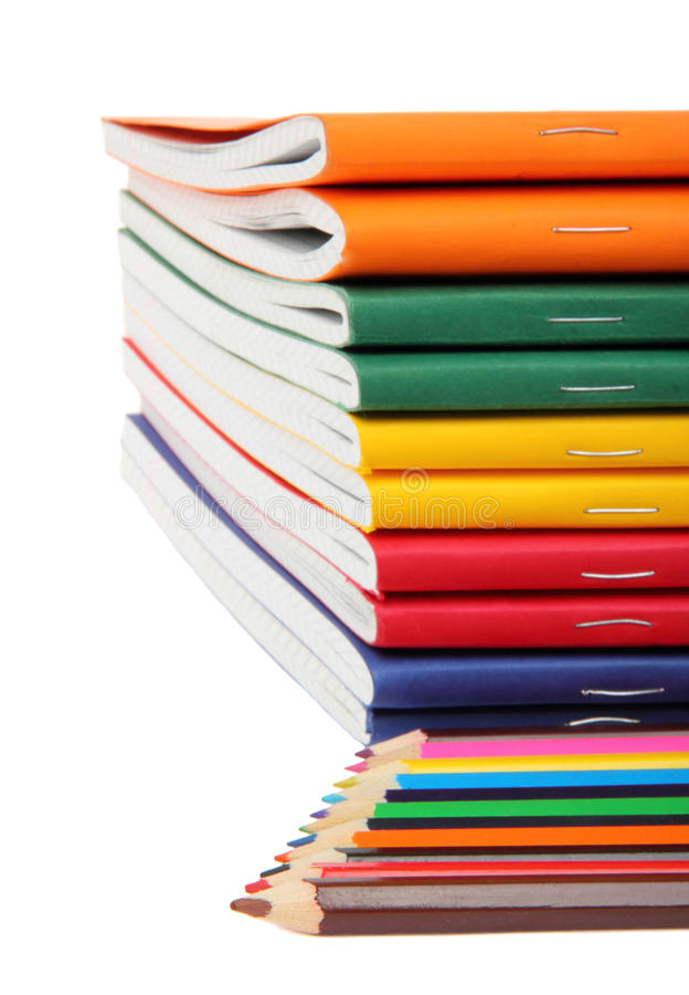Download Exercise books and pencils stock image. Image of multicolored - 26129549