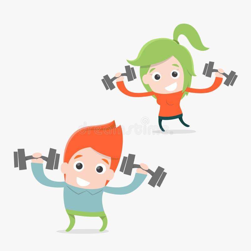 Exercise. Couple cartoon concept vector illustration