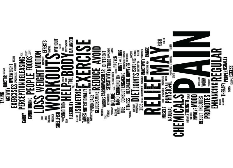 Exercise And Diet As Pain Relief Therapy Text Background Word Cloud Concept royalty free illustration