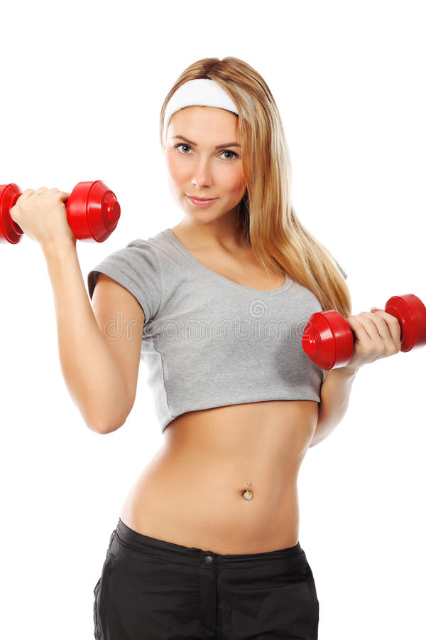 Exercise with dumbbells royalty free stock photo