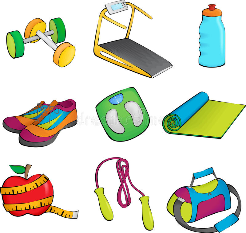 Download Exercise equipment icons stock vector. Image of elements - 21902692