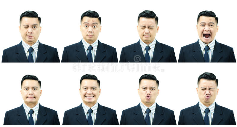 7 exercise facial muscles with Bell`s Palsy. 7 exercise facial muscles of asian man patients with Bell`s Palsy stock photos