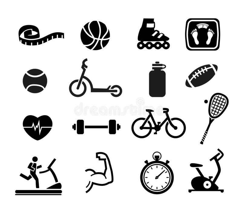 Exercise and Fitness Icons. Set of Exercise and Fitness Icons for Web or Print
