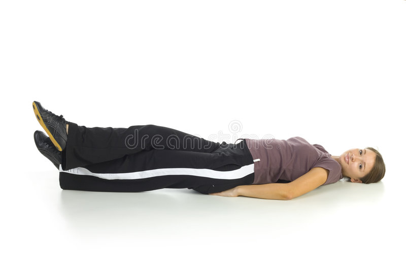 Exercise on the floor stock photography